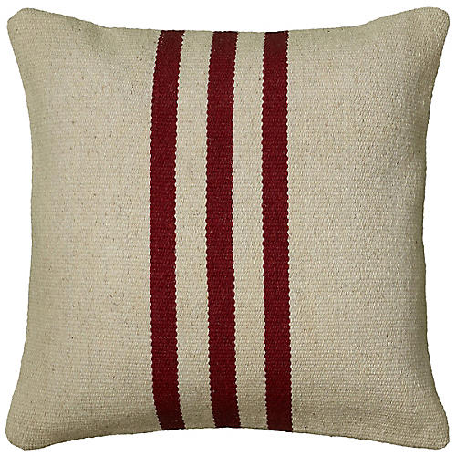 Colden 18x18 Holiday Pillow, Red/Beige