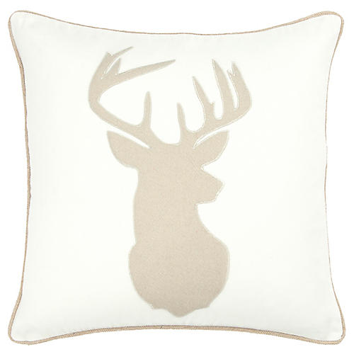 Prancer 20x20 Holiday Pillow, Cream/Natural