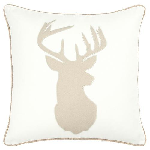 Prancer 20x20 Holiday Pillow, Cream/Natural