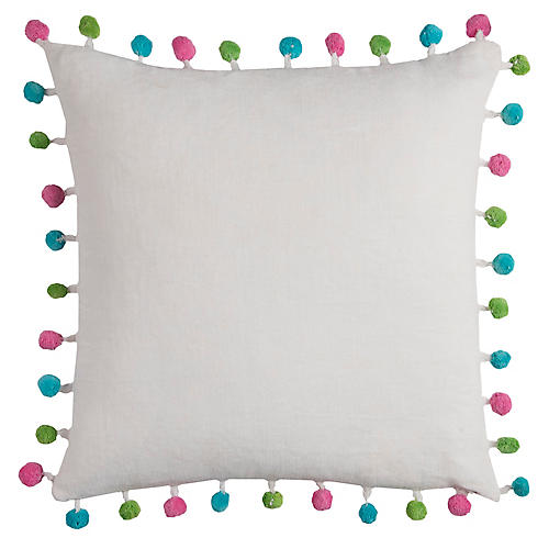 Quince 17x17 Kids' Pillow, White/Multi