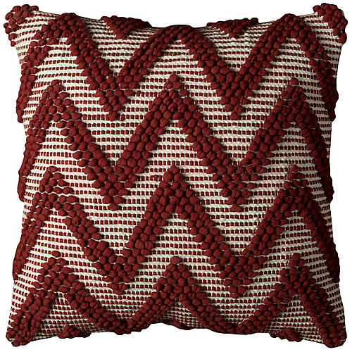 Ruby 20x20 Holiday Pillow, Red/Ivory