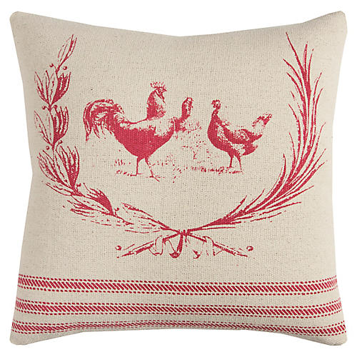Dixie 17x17 Pillow, Natural/Red