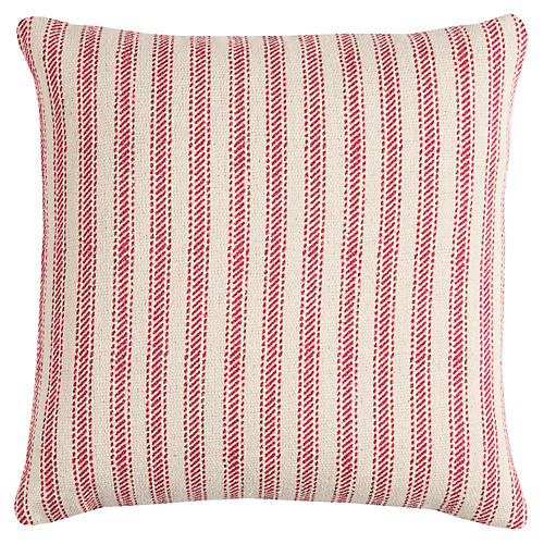 Blythe 17x17 Striped Pillow, Natural/Red