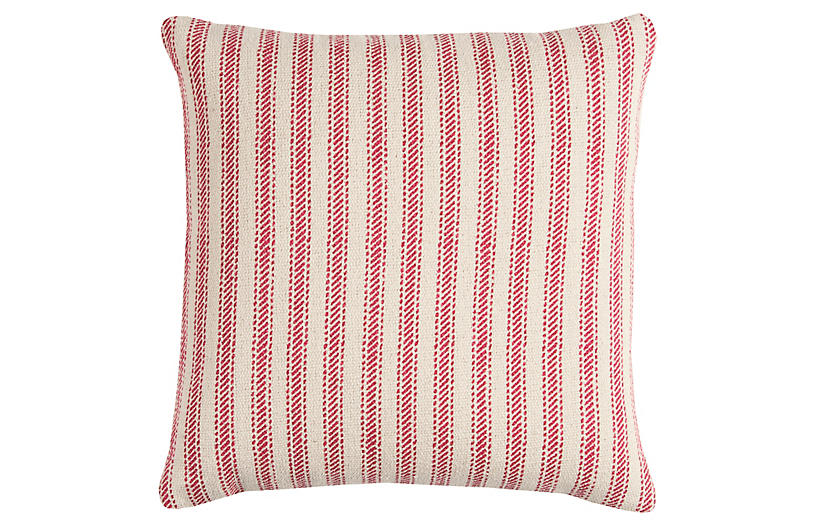 Blythe 20x20 Striped Pillow, Red