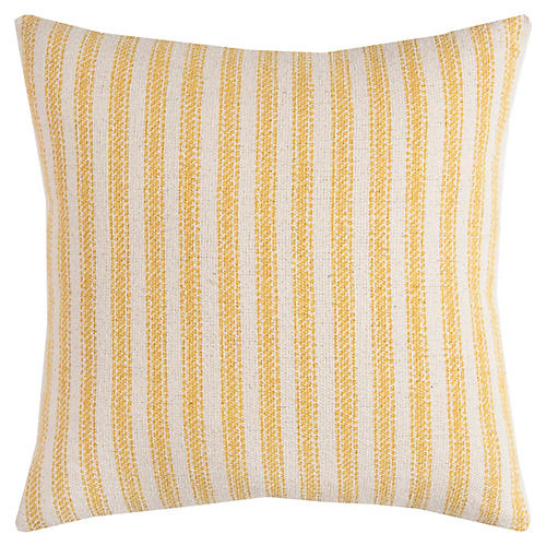 Blythe 17x17 Striped Pillow, Natural/Yellow