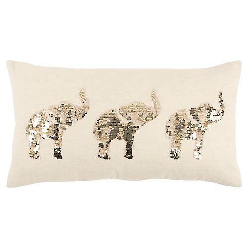 Three Elephants 14x26 Lumbar Pillow, Beige/Gold