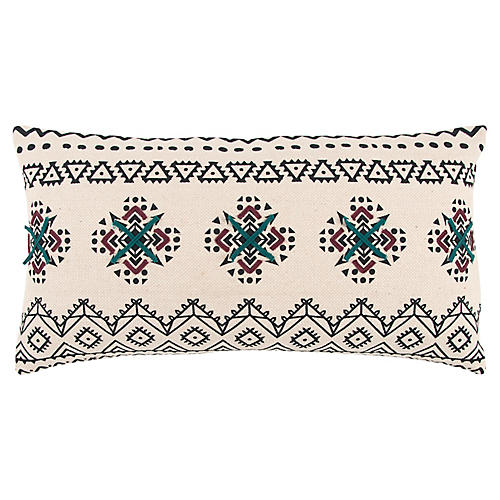 Tinsley 14x26 Holiday Lumbar Pillow, White/Indigo