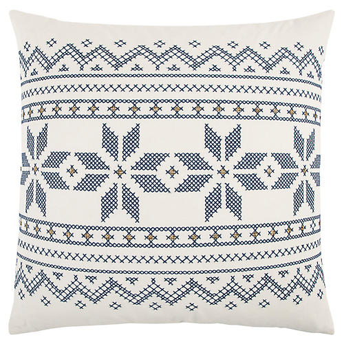 Rollo 20x20 Holiday Pillow, Ivory/Blue