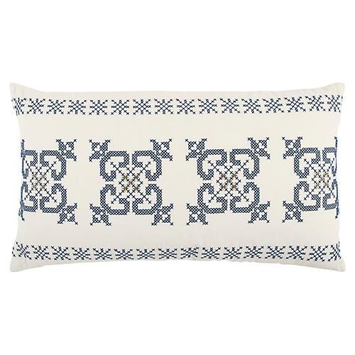 Ralphie 14x26 Holiday Lumbar Pillow, Ivory/Blue