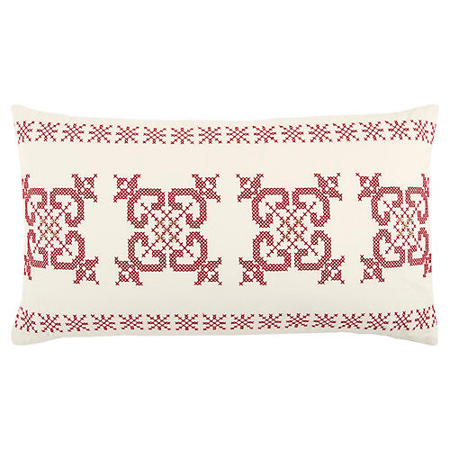 Nixie 14x26 Holiday Lumbar Pillow, Ivory/Red