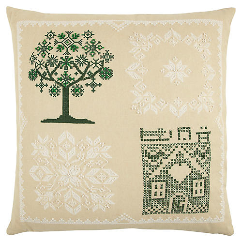 Finola 20x20 Holiday Pillow, Beige/Green