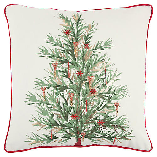 Erwin 20x20 Holiday Pillow, Green/Multi