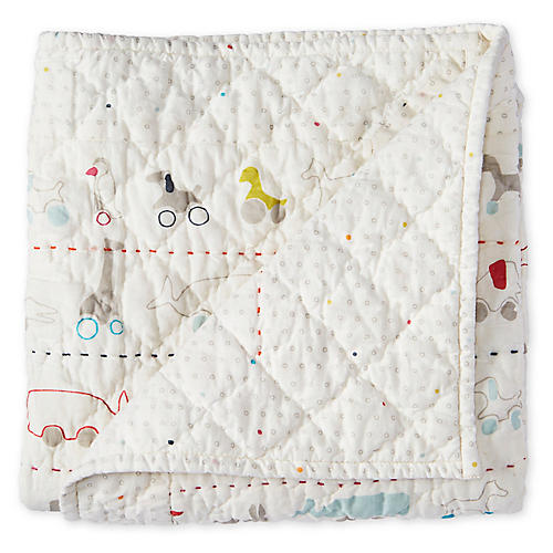 Pull Toys Quilted Blanket, White/Multi