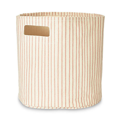 Stripes Away Storage Bin, Petal/White