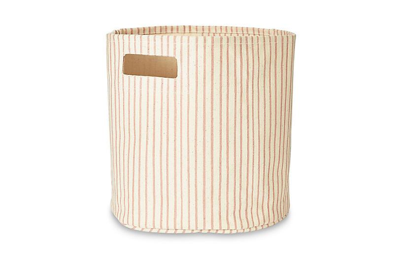 Stripes Away Storage Bin, Petal/White