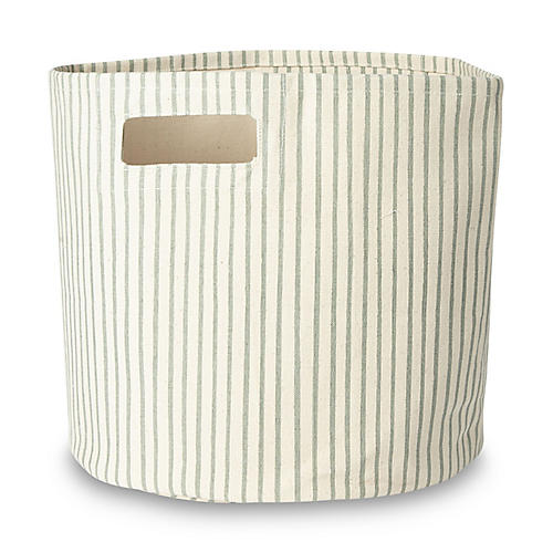 Stripes Away Storage Bin, Sea/White