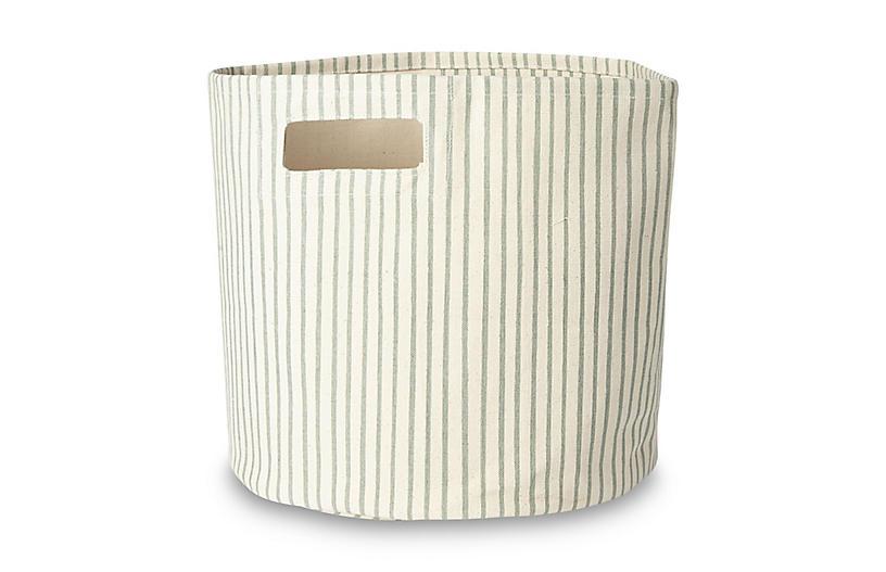 Stripes Away Storage Bin, Sea/White