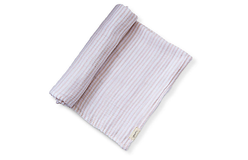 Stripes Away Cotton Swaddle, Petal