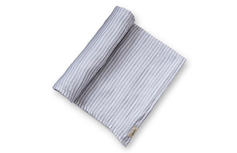 Stripes Away Cotton Swaddle, Pebble