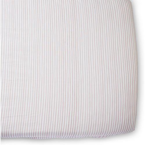 Stripes Away Crib Sheet, Petal
