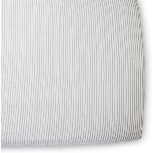 Stripes Away Crib Sheet, Pebble