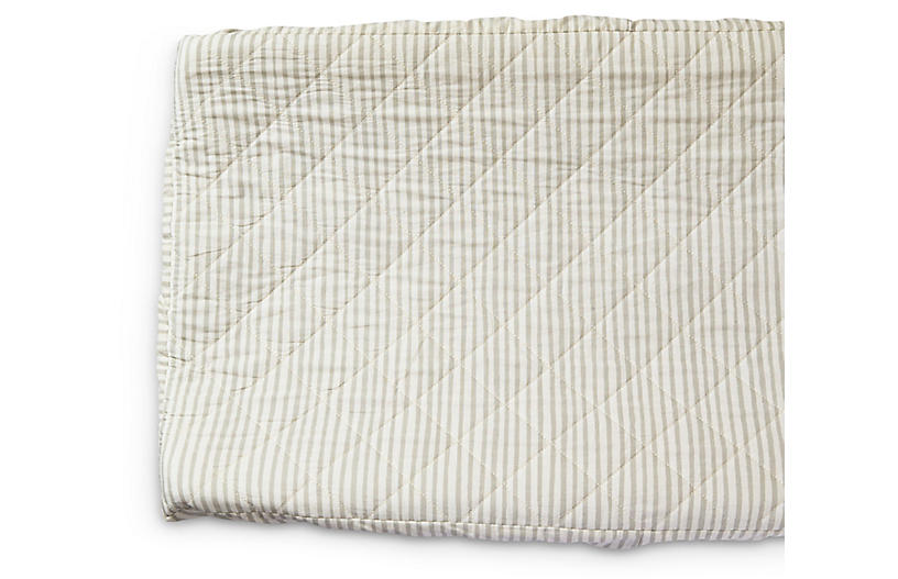 Stripes Away Cotton Change Pad Cover, Pebble