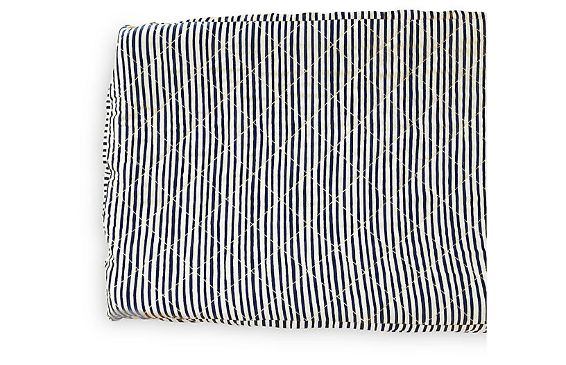 Stripes Away Cotton Change Pad Cover, Ink