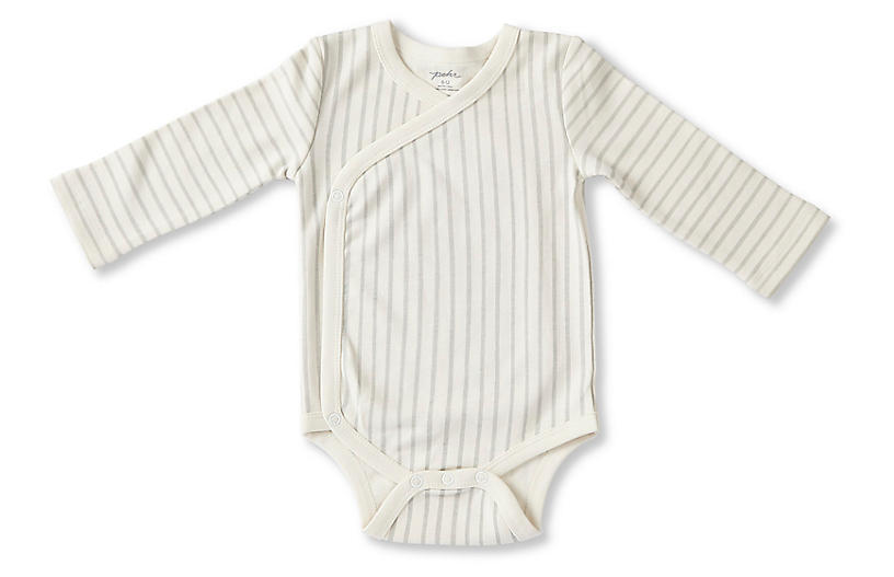 Stripes Away Kimono Onesie, Pebble