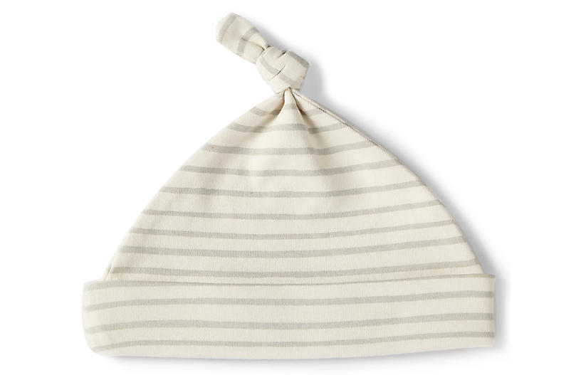 Stripes Away Knot Hat, Pebble