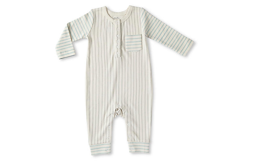 Stripes Away Romper, Pebble/Sea