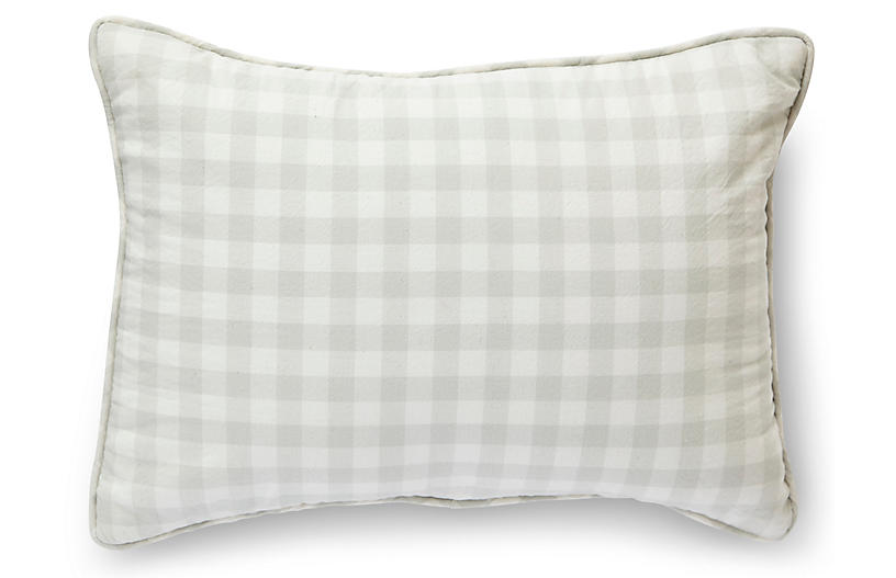 CheckMate Nursery Pillow, Fog