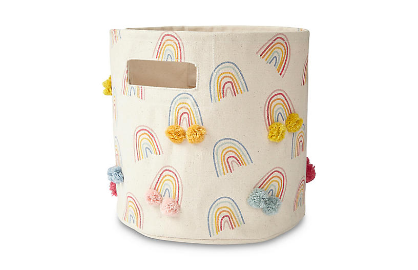 Rainbow Pom-Pom Storage Bin, White/Multi