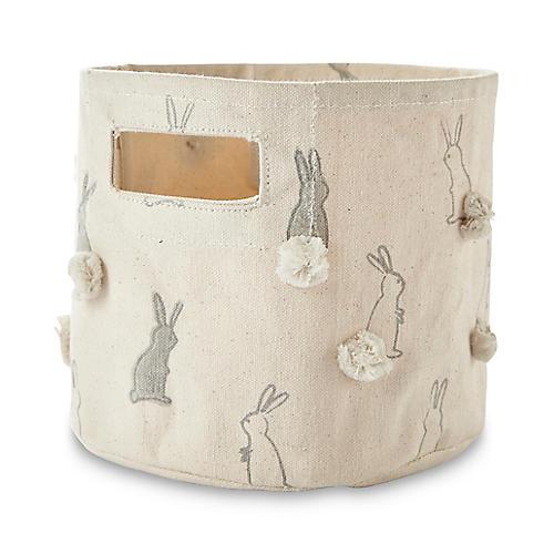 Bunny Hop Mini Storage Bin, White/Gray
