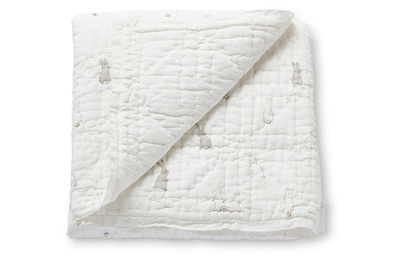 Bunny Hop Quilted Blanket, White/Gray