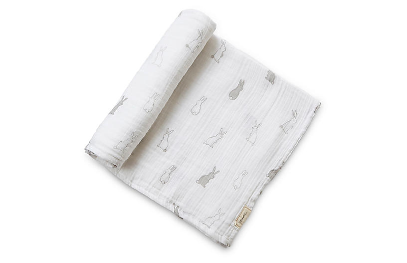 Bunny Hop Cotton Swaddle, White/Gray