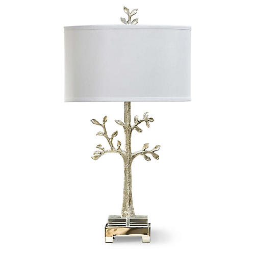 Modern Silver Tree Lamp, Silver/Gold
