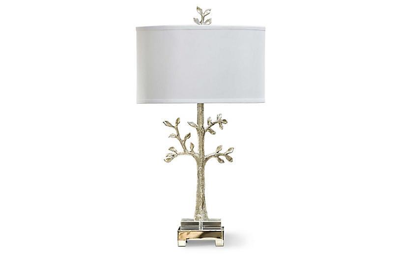 Modern Silver Tree Lamp, Silver/Gold