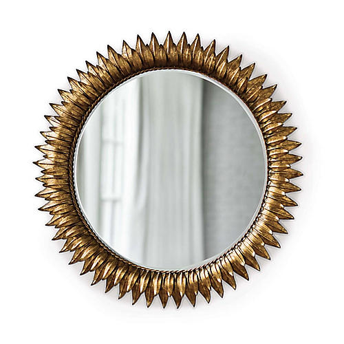 """Round 30"""" Sunflower Wall Mirror, Gold"""