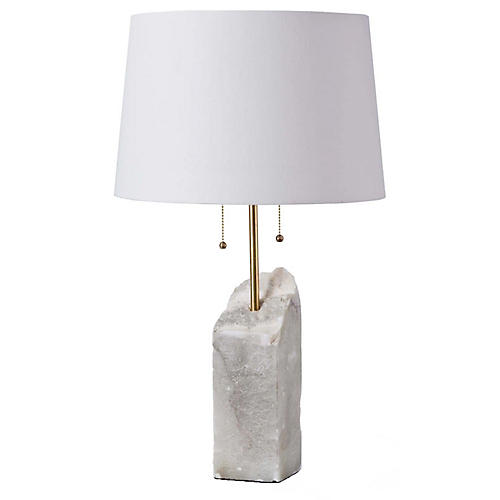 Alabaster Table Lamp, White