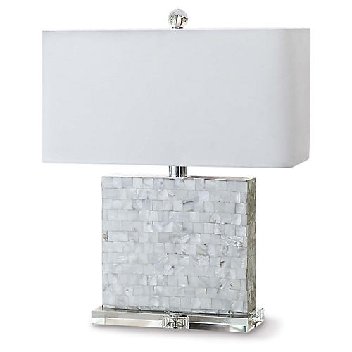 Bliss Mother-of-Pearl Table Lamp, White