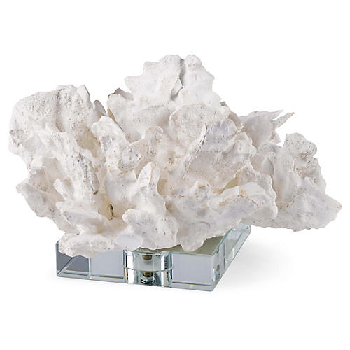 Coral On Crystal Base, White