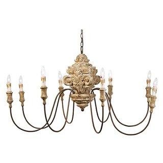 8-Light Wood Carved Chandelier, Gold