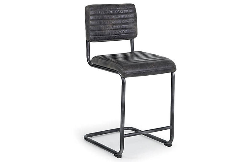S/2 Dylan Counter Stools, Ebony Leather