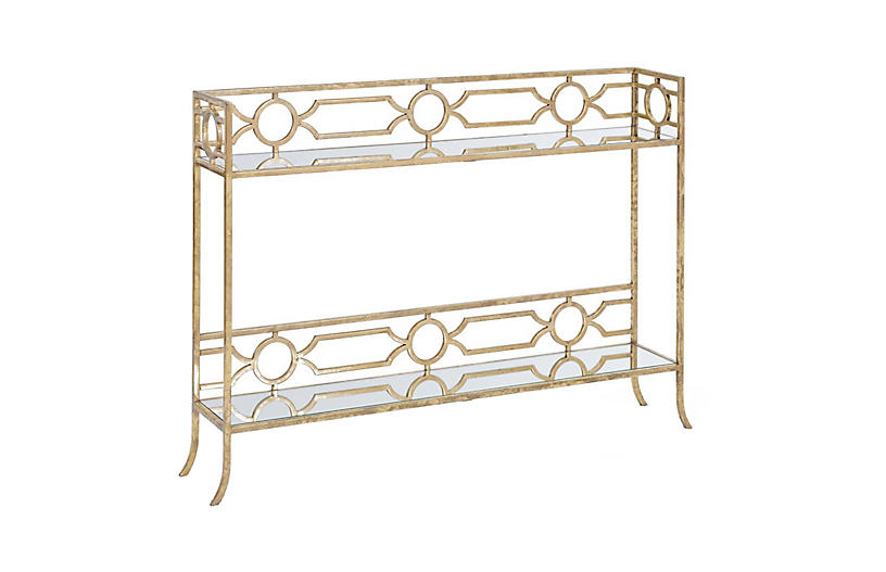 Chantal Mirrored Console Table, Gold