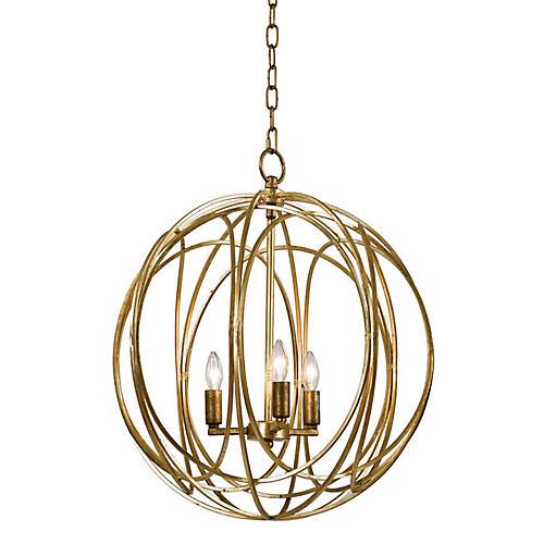 3-Bulb Gold Ofelia Chandelier, Large