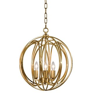 Arroyo 28 inch Gold Finish Clear Glass Globe Chandelier (bulbs included)