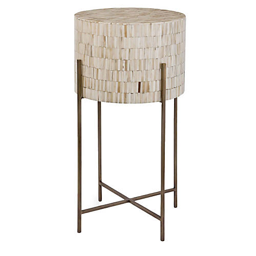 Bone Side Table, Ivory/Brass