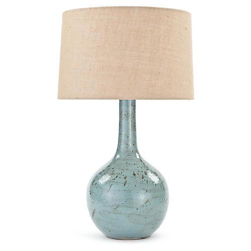Fluted Robin Egg Table Lamp, Blue