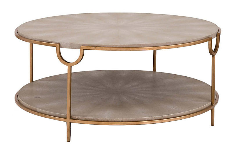 Vogue Round Coffee Table, Ivory/Gray