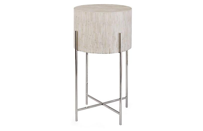 Drum Side Table, Polished Nickel